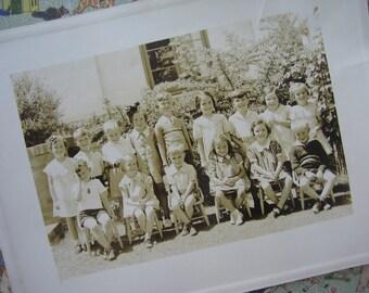 Vintage Photo Kindergarten Class Photo Hayward Park School, San Mateo, California, Sepia - 1937