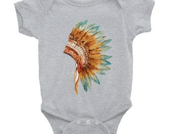 Indian headdress in hand painted style - Baby Onesie Bodysuit, American Apparel Infant Baby Rib Short Sleeve One-Piece