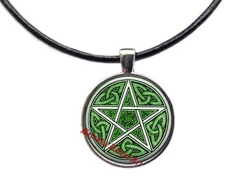 Wiccan Pentagram jewelry, White Magick pendant #478