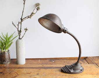 Vintage Industrial Mid-Century Cast Iron Base Brown Gooseneck Desk Lamp