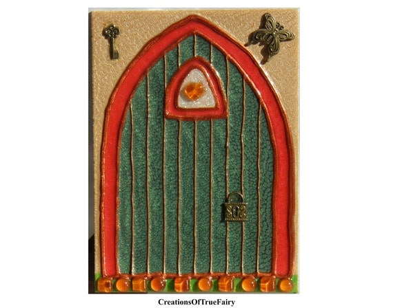 Green elf door irish fairy door kids gift by for Irish fairy door ideas