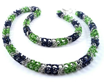 Minimaille Chainmaille Necklace Lime Green Silver Navy Blue Seahawks Necklace Made To Order