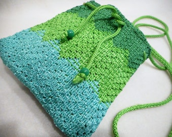 Sweet Vintage Style Crocheted Green Turquoise Small Purse Evening Handbag Wedding Prom Child Accessory