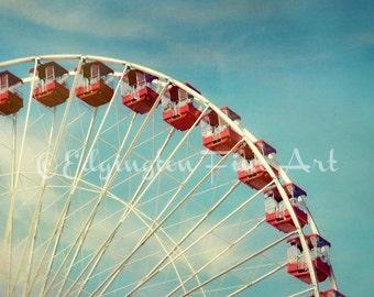 Ferris Wheel, Whimsical decor, Red Ferris Wheel photo, red, blue, nursery art, summertime decor, whimsical, clouds, nursery decor, carnival