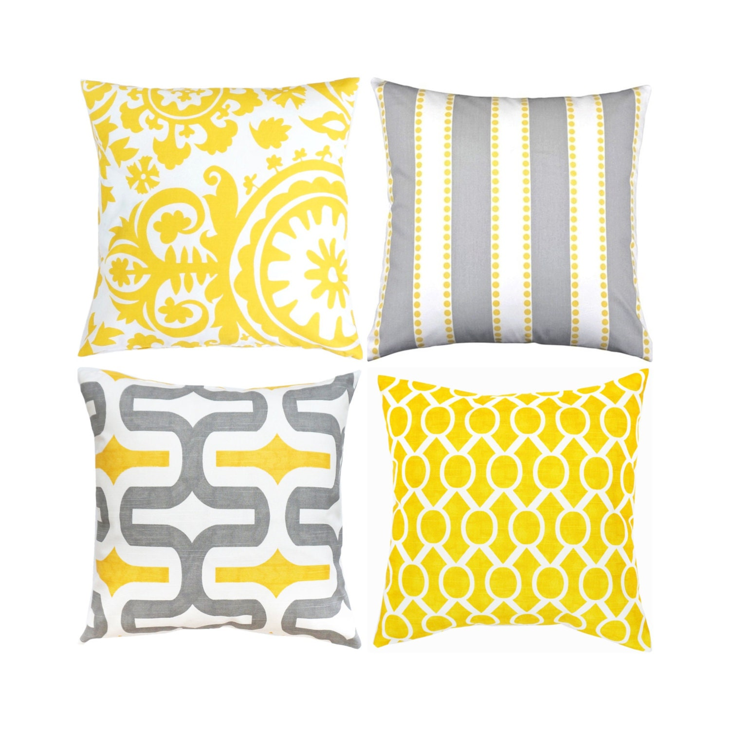 Yellow And Grey Throw Pillow Covers : Yellow Gray Pillow Cover.Yellow Throw Pillow.Grey Toss