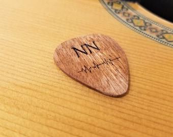 Personalized Soundwave Guitar Pick, Custom Engraved Music Soundwave Plectrum, Wood Laser Burned Initials and Sound Wave Guitar Pick