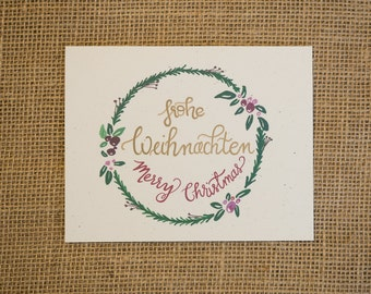 German Merry Christmas (Frohe Weihnachten) Handlettered Greeting Card