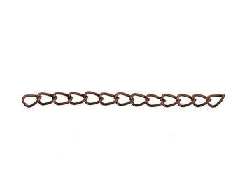 10 chains of extension copper red color antique 50 mm