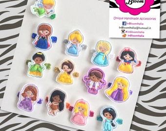 Princess Character embroidered felt hair clip - Fermaglio con Personaggio Principessa Ricamato in Feltro