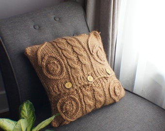 Knit Pillow Cover, Pillow cover, Decorative Pillow Cover, Accent Pillow Cover, Decorative Pillow Cover, Mustard Yellow Pillow 16x16 OOAK