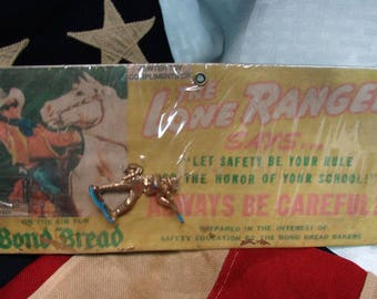 1953 The Lone Ranger Pewter Toy - Bond Bread - Western Cowboy Toy