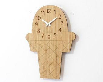 Bamboo Wood Wall Clock -  Ice-cream