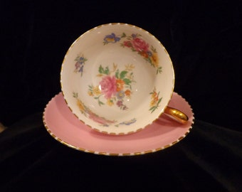 ROYAL CHELSEA Pink Bone China Teacup and Saucer Set Made In England with Scalloping and Gold Gilding Pink Floral Inner Cup Hand Painting