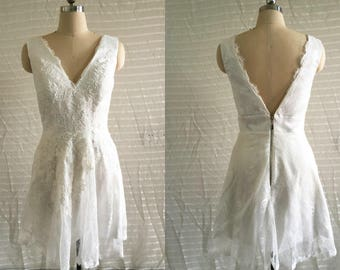 Ivory Lace Bridesmaid dress, v neck lace bridesmaid dress,short lace prom dress,short evening dress prom dress formal dress New Arrive