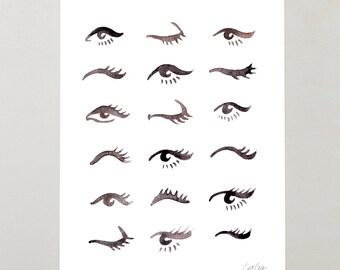 Mascara Envy – Signed Watercolor Painting Print by CatCoq. Artwork, Wall Art, Beauty, Makeup, Eyes, Fashion, Eye, Pretty, Girls Room, Dorm