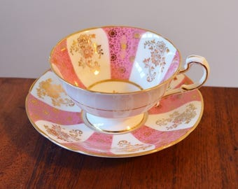 Paragon Pink Bone China Teacup and Saucer - made in England, Panelled Cabinet Duo with wide mouth and center snowflake, Hand numbered