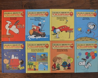 Charlie Brown Cyclopedia Set, circa 1980s, Children's Reference or Encyclopedias, Vintage Educational Books, Charles Schultz Illustrations
