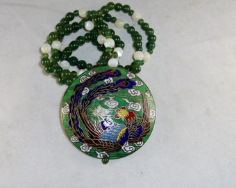 Chinese Cloisonne Pendant, Spinach Jade Bead Necklace, Vintage