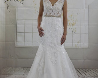 Luxury Sexy Mermaid Wedding dress, Sleeves Deep V Neck Lace Applique Crystal belt, Lace See Through Back