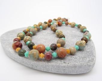 Jasper Necklace, Aqua Terra Jasper, Picture Jasper, Semi Precious Stone Necklace, Gemstone Necklace, Blue, cream, brown, green Necklace.