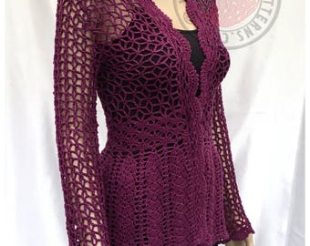 Floral Lace Cardigan - Crochet PDF Pattern - Sizes S, M, L, XL, 2XL, 3XL