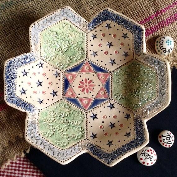 Handmade Ceramic Patchwork Patterned Bowl