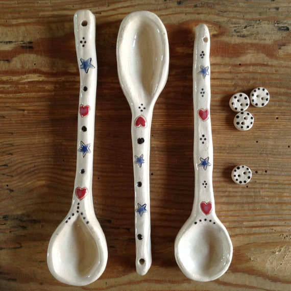 Handmade Ceramic Spoons, rustic, decorative spoons, kitchen accessories