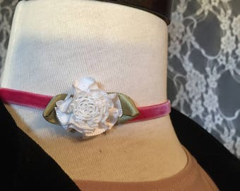 Pink Vintage Velvet Choker with White Flower