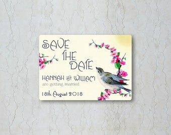 Vintage Birds Save the Date Card or Magnet