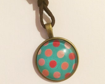 Green pastel polka dot shabby chic pendant necklace jewellery costume