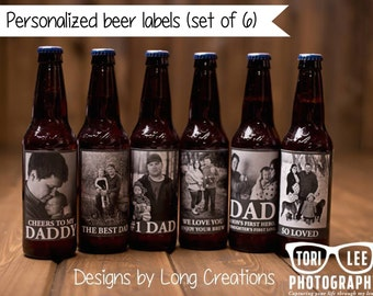 beer labels - beer labels for dad - custom set of bottle stickers - set of 6  - gift for dad - personalized with photos