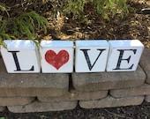 Valentine's Day, Love Blocks, Shelf Sitter, Tiles, Wood, Block, Blocks, Valentine, Valentines, Heart, Distressed, Rustic, Primitive