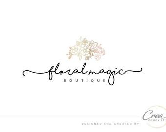 Flower logo design/ Rose-gold logo/ Premade logo design/ Flower shop logo/ Handwritten logo/ Brand design #564