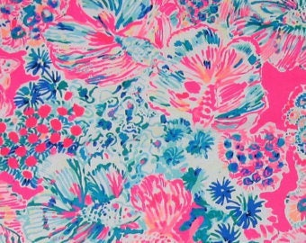 TIKI PINK GYPSEA cotton dobby  9 X 18 or 18 X 18 inches ~Authentic Lilly Pulitzer fabric~