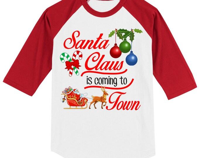 KIDS CHRISTMAS RAGLAN 3/4 length baseball sleeve ab