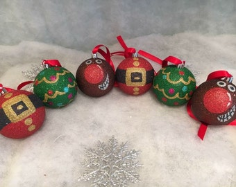Christmas Tree Baubles, Christmas Designs, Glitter Baubles, Santa Bauble, Rudolph Bauble, Christmas Decoration