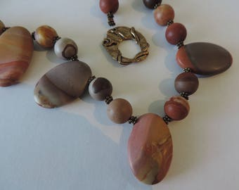 Jasper Necklace, Southwestern Sunset Necklace, Honed Jasper Necklace,