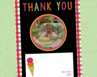 Bright First Birthday Ice Cream Party Thank You