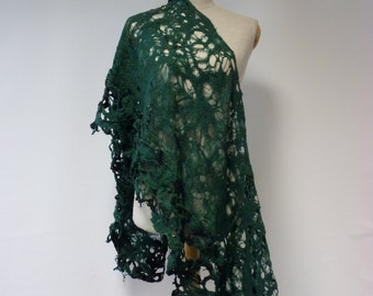 Handmade bottle green felted shawl.  Perfect for gift.