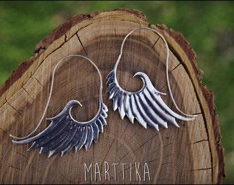 Angel wings earrings. Silver earrings. Silver plated earrings ethnic style. Tribal jewelry.