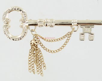 Vintage Key Pin with Chain and Tassle - Goldtone