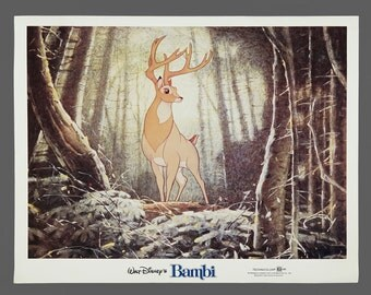 1942 Film Bambi Print Poster 11 x 14 Wall Art Walt Disney Vintage