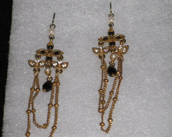 Vintage Antiqued Gold Plated Earrings