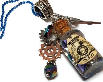 Time in a Bottle, Steampunk Time Traveler Capsules, Steampunk Gears in a Bottle Necklace