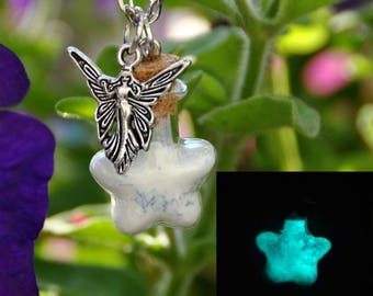 Necklace Fairy powder, phosphorous in glass bottle, star, fairy of woods, magic