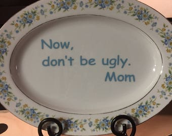 Vintage China platter with quote