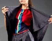 Red silk top, geometric pattern, folded neckline