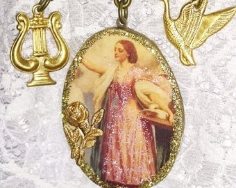 """Baroque brooch renewal of spring """"the goddess HERA on wood with its lyre and its birds"""