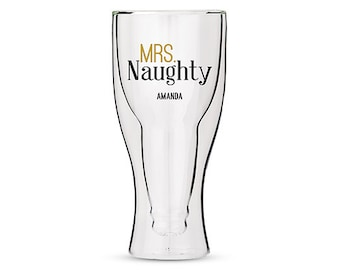 Personalized Pint Glass - Mrs. Naughty - Beer Lovers Gift - Stocking Stuffer - Personalized Gift - Printed Pint Glass - Unique Holiday Gift