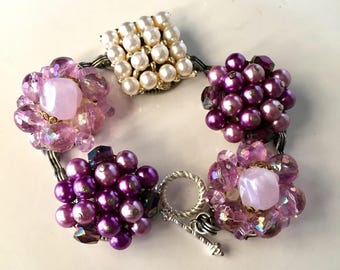 Upcycled Bracelet - Pink & Purple Bracelet - Earring Bracelet - Assemblage Bracelet - Up-Cycled Jewelry - Assemblage Bracelet - Lavender